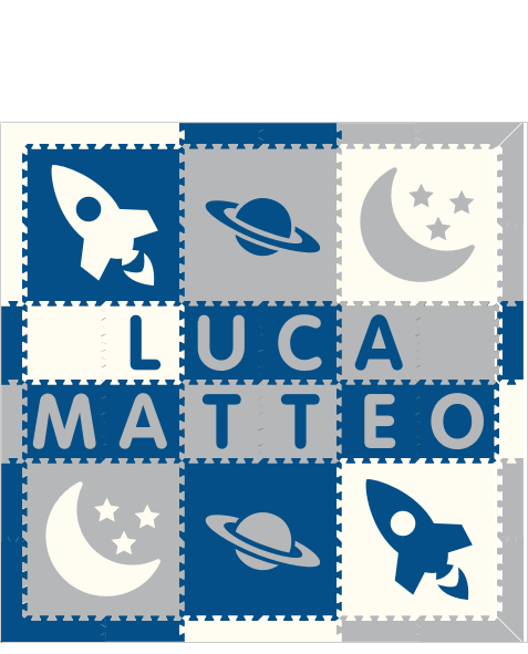 M583- Space Theme Name Blue, Light Gray, White 6x6