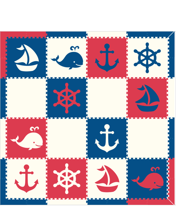M269- White, Blue, Red Nautical 8x8