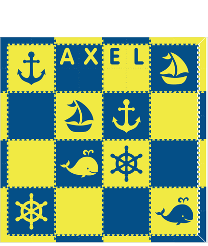 M194- Blue and Yellow Nautical w/ Name 8x8
