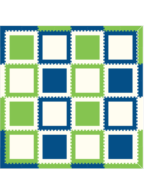 M1- Blue Lime White Squares