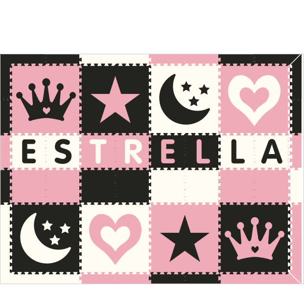M688- Name Crown, Star, Moon, Heart, Black, Light Pink, White 6x8