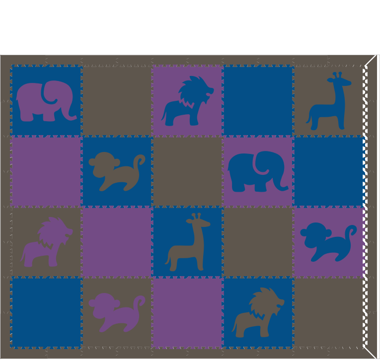 M102- Gray, Blue, and Purple Safari Animals 8x10