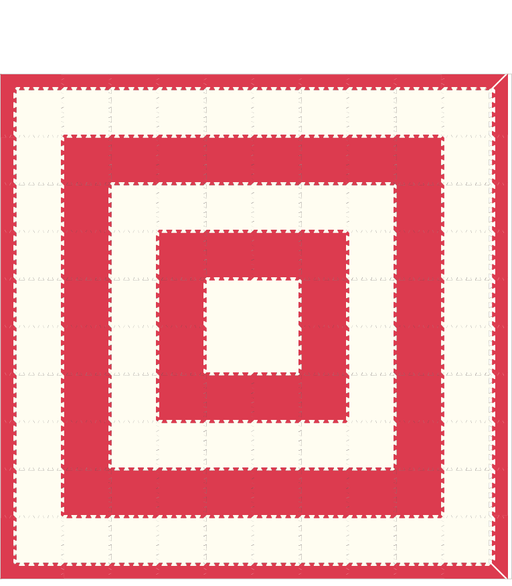 M408- Solid Red White Concentric Square 10x10
