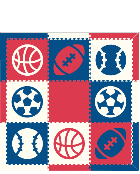 M639- Sports Theme Red, White, Blue 6x6