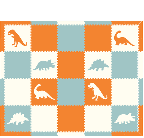 M286- Orange, White, Light Blue Dinosaurs 8x10