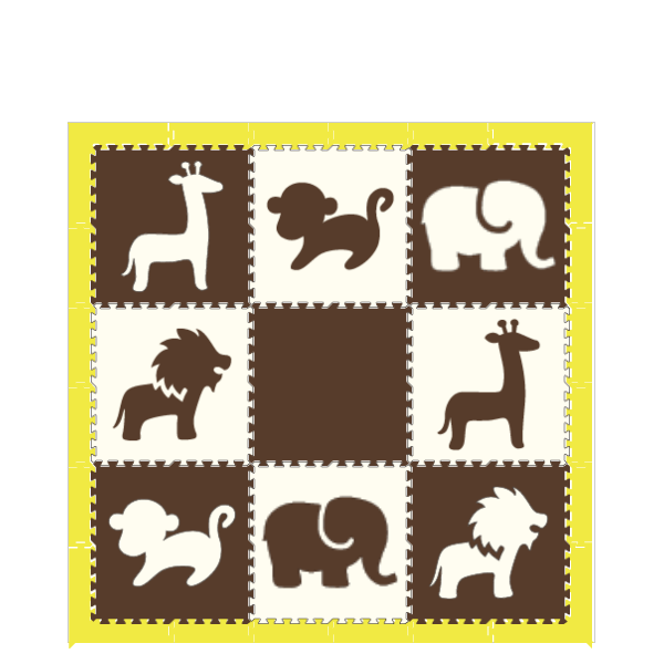D173- Safari Animals Brown White with Yellow Border