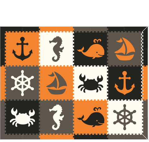 M299- Orange, Gray, Black, White Nautical/ Sea Animals 6x8