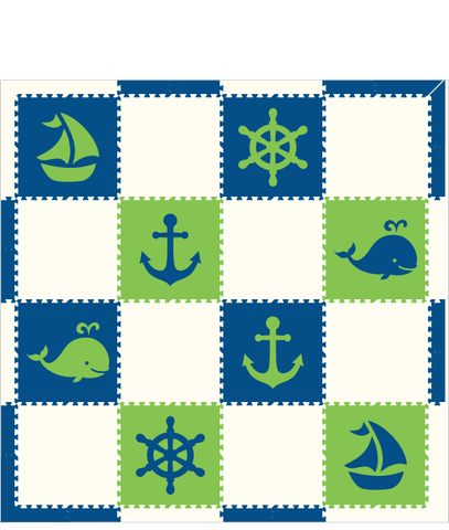 M125- Blue, Lime, and White Nautical 8x8