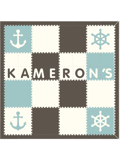 M228- Gray, White, Lt Blue Nautical w/ name 8x8