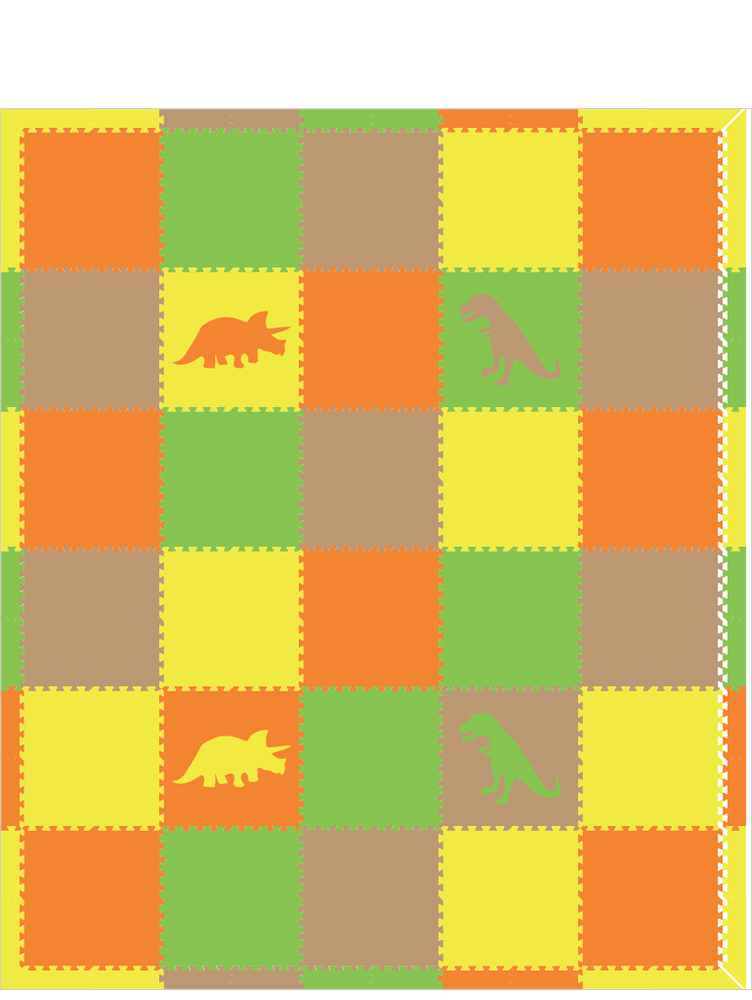 M178- Orange, Lime, Tan, Yellow Dinosaurs 10x12