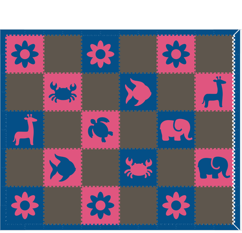 M124- Gray, Pink, and Blue Flowers/Animals 10x12