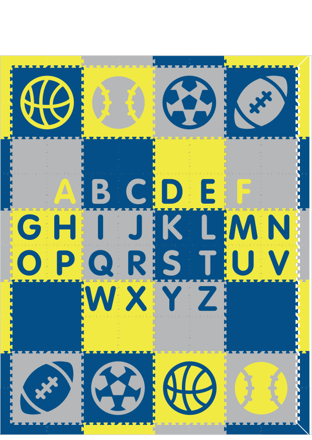 M486- Sports Alphabet Blue, Yellow, Light Gray 8x10