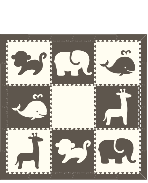 D182- Mixed Animal Mat 6x6