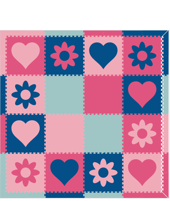 M624- Hearts and Flowers Blues and Pinks 8x8