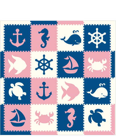 M193- Lt Pink, Blue, White Sea Animal/Nautical 8x8