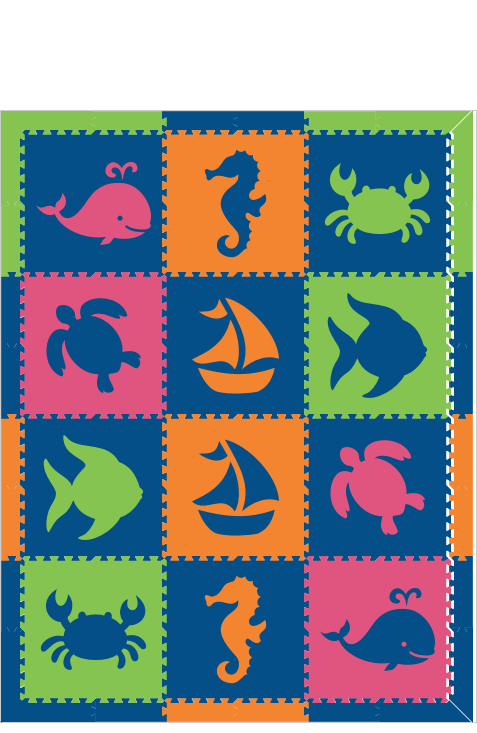M132- Lime, Blue, Pink, and Orange Nautical/Sea Animals 6x8