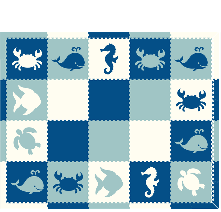M737- Nautical/Sea Animals Blue, Light Blue, White