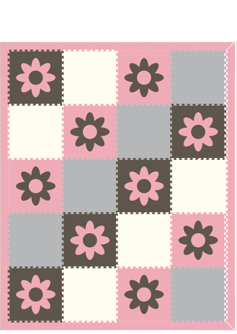 M173- Flowers Lt Pink, Gray, Lt Gray and White 8x10
