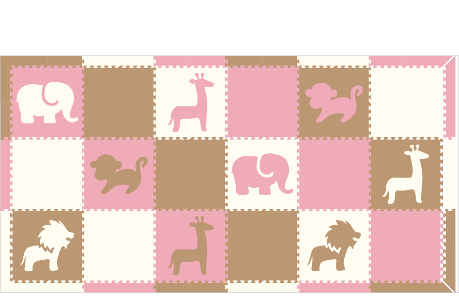 M727- Safari Animals Light Pink, Tan White 6x10