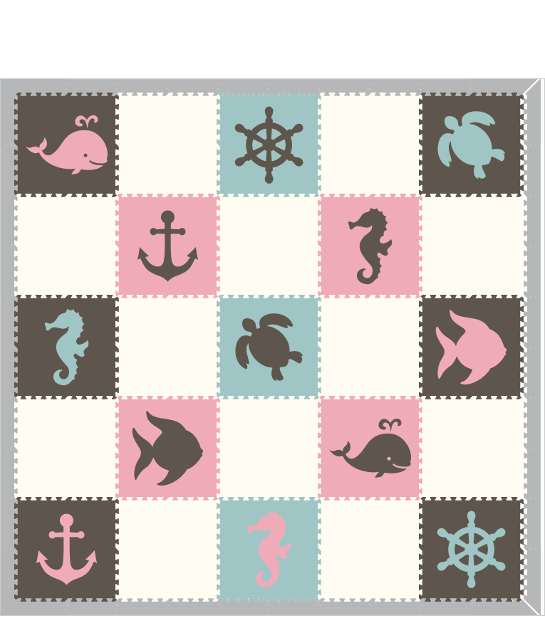 M186- Gray, White, Lt Pink, Lt Blue Nautical/Sea Animals 10x10