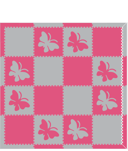M301- Light Gray and Pink Butterflies 8x8