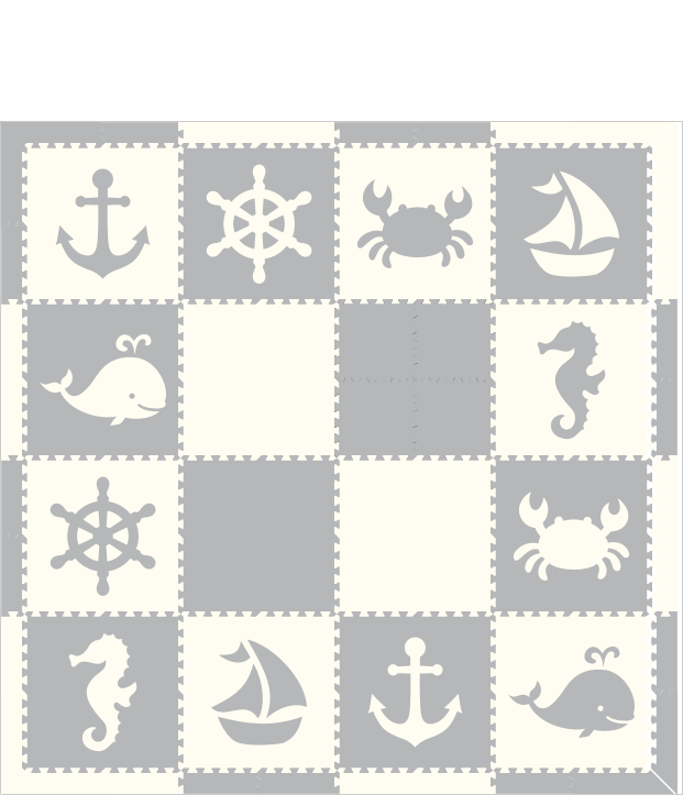 M665- Nautical Sea Animals Light Gray White 8x8