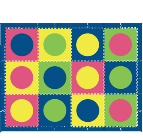 D150 Circle Mats Blue, Yellow, Lime, Pink