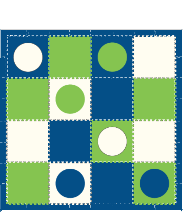 D119 Blue,Lime, and White Circles