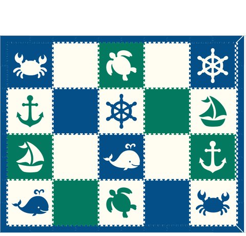 M137- Nautical/ Sea Green, Blue, White 8x10