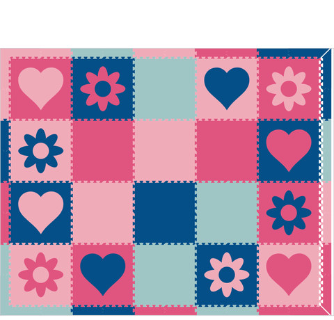 D201- Hearts and Flowers Blue and Pink 8x10