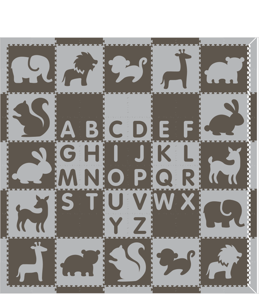 M718- Alphabet & Mixed Animals Gray, Light Gray 10x10
