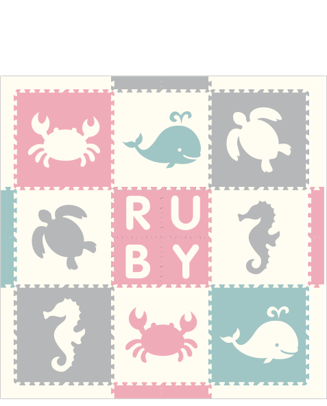 M187- Lt Pink, Lt Blue, Lt Gray, and White Sea Animals w/ Name 6x6