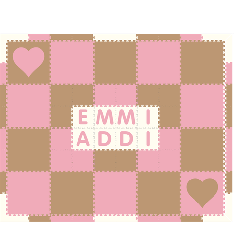 M185- Lt Pink and Tan Hearts w/ name 8x10