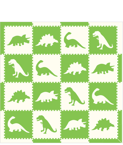 M203- Lime and White Dinosaurs 8x8
