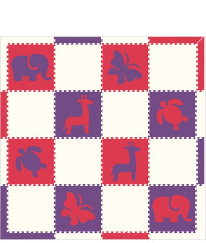 M153- Red, White, Purple Mixed Animals 8x8