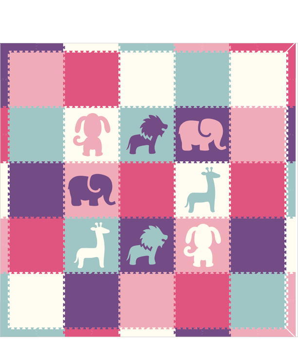 M276- Pink, Purple, Lt Blue, Lt Pink Safari / Puppy 10x10