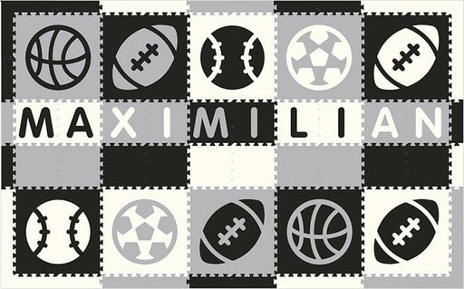 Easy Personalize- SoftTiles Sports Play Mat in Black, Light Gray & White 10 Letter Name 6.5' x 10.5'