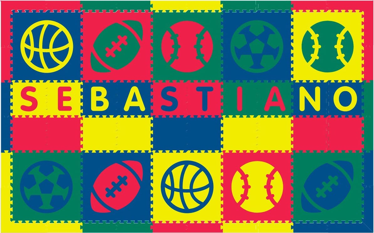 Easy Personalize- SoftTiles Sports Play Mat in Red, Yellow, Blue, Green 10 Letter Name 6.5' x 10.5'
