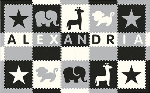 Easy Personalize- SoftTiles Stars & Safari Play Mat Blk, Wht, Lt Gray- 10 Letter Name 6.5' x 10.5'