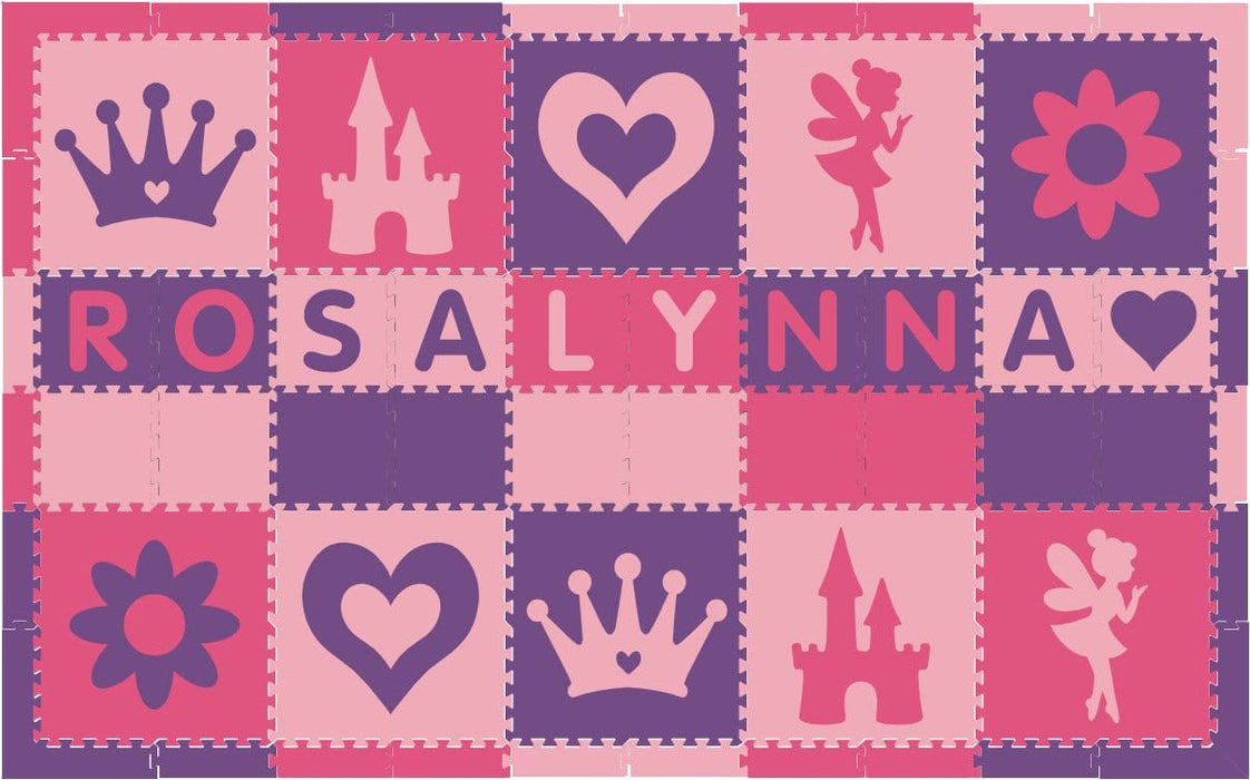 Easy Personalize- SoftTiles Princess Play Mat in Purple, Light & Dark Pink 10 Letter Name 6.5' x 10.5'