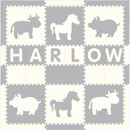 Easy Personalize- SoftTiles Farm Animals Play Mat in Light Gray and White-6 Letter Name 6.5' x 6.5'- BACKORDERED 2/1/21