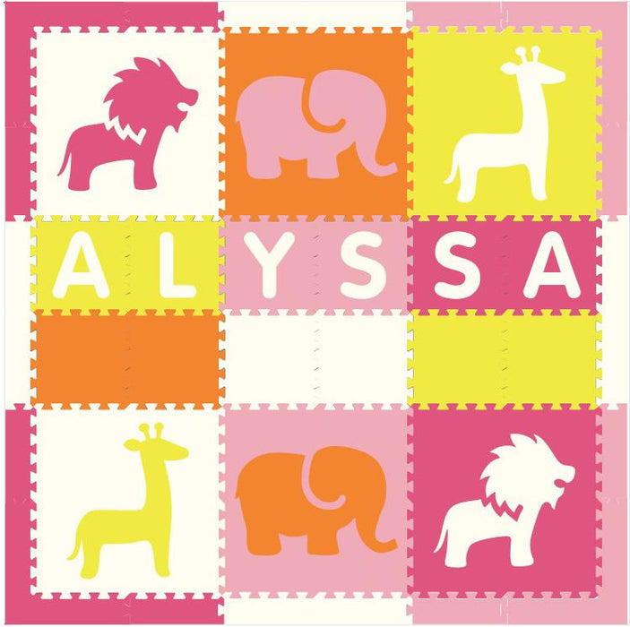 Easy Personalize- SoftTiles Safari Play Mat in Lt. Pink, Orange, White, Pink, Yellow-6 Letter Name 6.5' x 6.5'