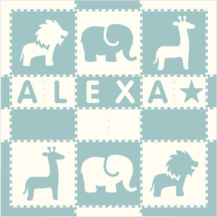 Easy Personalize- SoftTiles Safari Animals Play Mat Light Blue & White -6 Letter Name 6.5' x 6.5'