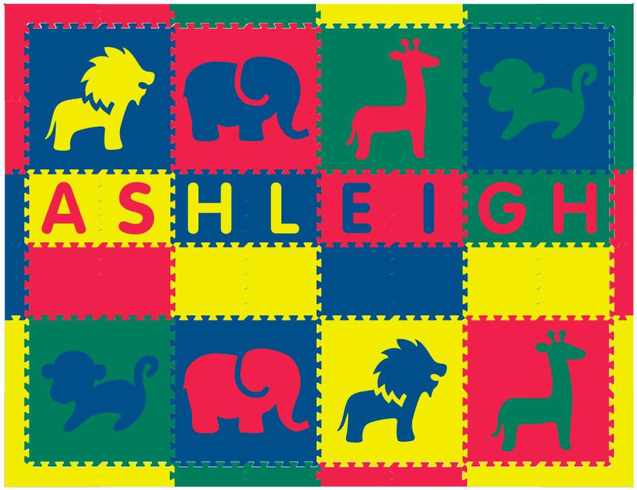 Easy Personalize- SoftTiles Safari Animals in Red, Yellow, Blue, Green-8 Letter Name 6.5' x 8.5' Play Mat