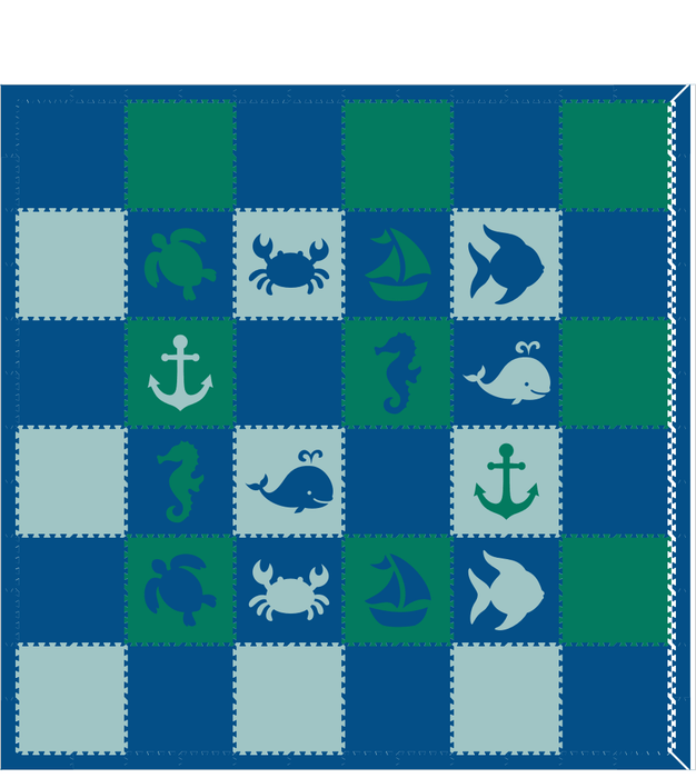 M250- Lt Blue, Green, Blue Nautical/Sea Animals 12x12