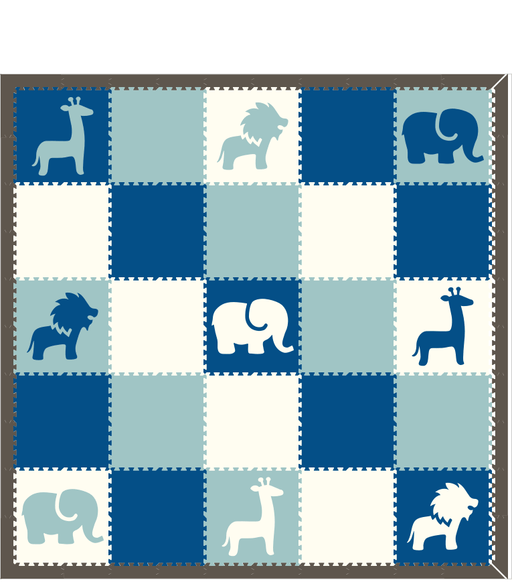 M155- Lt Blue, White, Blue Safari Animals 10x10