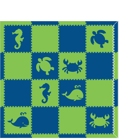 M92- Lime and Blue Sea Animals 8x8