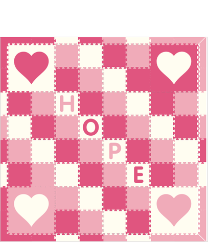 M255- Hearts Lt Pink, White, Pink w/ 1x1's 8x8