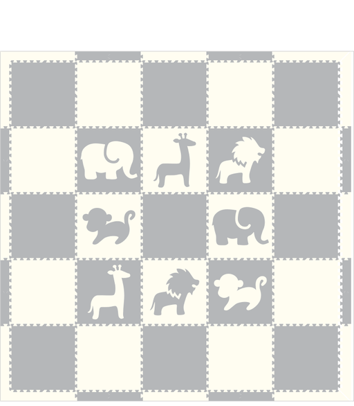 M617- Safari Animals Light Gray White 10x10
