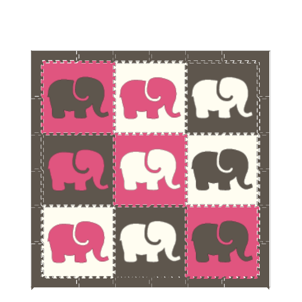 D139- Pink Gray White Elephants 6 x 6